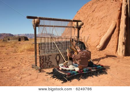 Small Girl Weaving Blanket