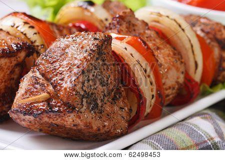 Skewers With Meat And Vegetables Macro. Horizontal