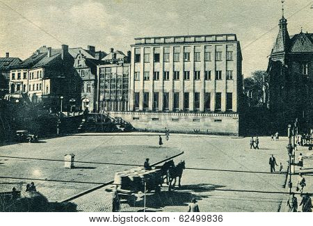 BIELSKO, POLAND - NOVEMBER 21, 1944: Vintage photo of Adolf Hitler platz (during nazi occupation, now  Plac Boles?awa Chrobrego).
