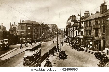 OLDHAM, ENGLAND - CIRCA 1898: Vintage photo of High street. Oldham is a large town in Greater Manchester