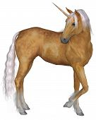 foto of unicorn  - Magical palomino unicorn with golden horn and silver mane and tail turning against a white background - JPG