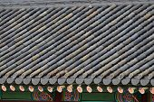 Detail Of Tiled Roof In Gyeongbokgung In Seoul, Korea