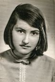 BULGARIA, SEPTEMBER 8, 1966: Vintage portrait of young girl