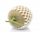 image of ares  - Cantaloupe in net bag Isolated on white background - JPG
