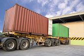 pic of big-rig  - Trailers parking at warehouse to load products - JPG