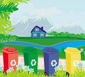 picture of segregation  - segregation of garbage recycling on rural landscape - JPG