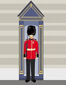 stock photo of beefeater  - royal British guardsman holding a rifle and standing near a guard box  - JPG