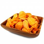 Potatoe chips in a wooden bowl