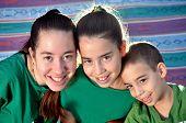 stock photo of triplets  - Three siblings  - JPG