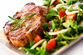 stock photo of lamb chops  - Grilled steak and vegetables - JPG