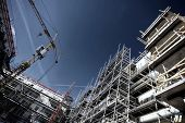 stock photo of scaffold  - building and construction site - JPG