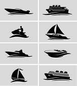stock photo of boat  - Boats and ships icons - JPG