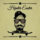 Hipster Easter Vintage Poster With Egg.