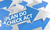 stock photo of plan-do-check-act  - Plan Do Check Act 3d render concept with blue and white arrows flying over a white background - JPG
