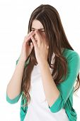 picture of sinus  - Young beautiful woman with sinus pressure - JPG