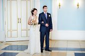 stock photo of solemn  - Solemn registration of marriage in Wedding Palace - JPG