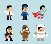 stock photo of superman  - Professions icons set of manager policeman superman musician detective astronaut vector illustration - JPG