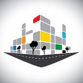 pic of school building  - vector icon  - JPG