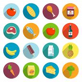 foto of supermarket  - Online supermarket foods flat icons set of meat fish fruits and vegetables isolated vector illustration - JPG