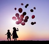 picture of brother sister  - Children Running With Balloons at Sunset - JPG