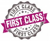 picture of first class  - First class violet grunge retro style isolated seal - JPG