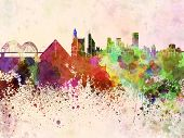 stock photo of memphis tennessee  - Memphis skyline in artistic abstract watercolor background - JPG