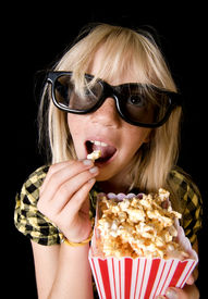image of movie theater  - Happy Girl Wearing New Style 3 - JPG