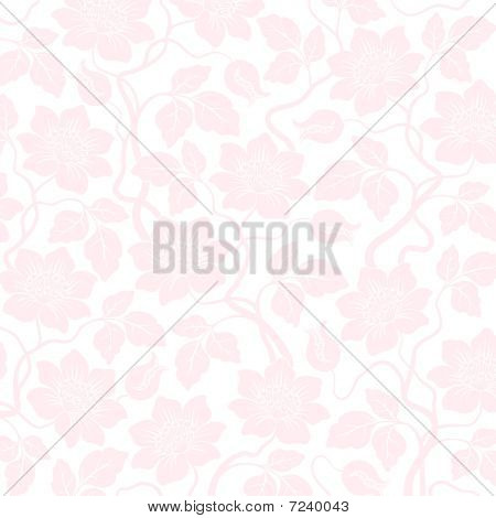 Pink Seamless Flower Damask Background