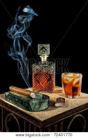 Cigar And Glass Of Brandy