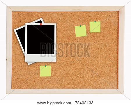 Two Photo Frame On Cork Board Post It