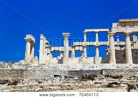 Ruins Of Temple On Island Aegina, Greece