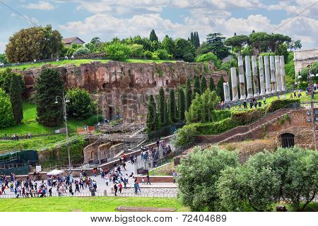 Tourists Visiting The Sights In A Historical Part Town Near The Colosseum In Rome, Italy
