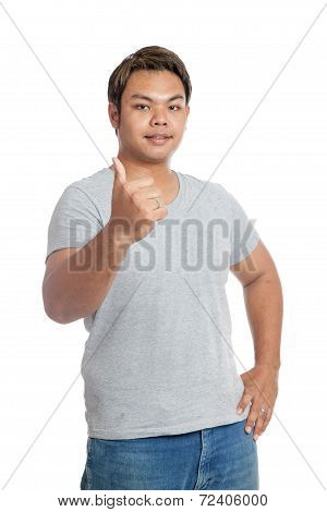 Asian Strong Man Show Thumbs-up And Smile