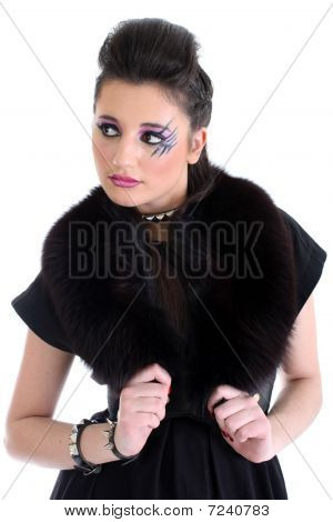 Young Beautiful Girl In Black With Fur