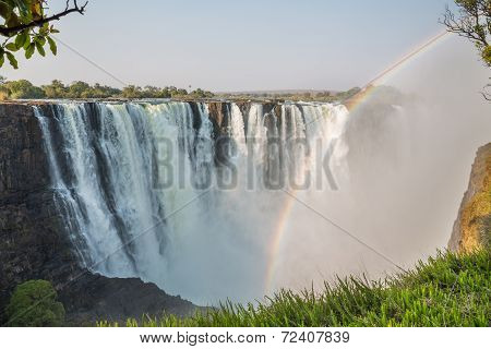 Fast shutter speed Victoria Falls view with rainbow