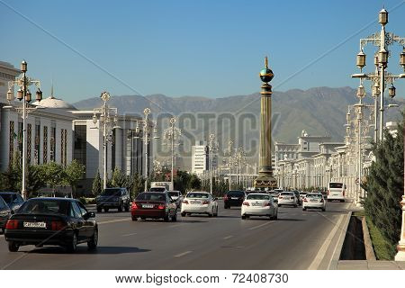 Ashgabat, Turkmenistan - Circa June 2013: Vew On The Wide Modern Boulevard Turkmenbashi With Beautif