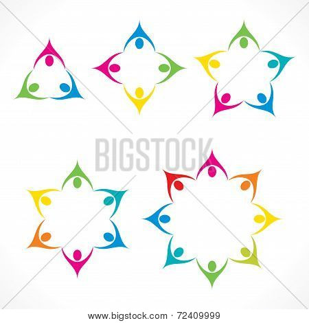 colorful teamwork or unity design concept stock vector