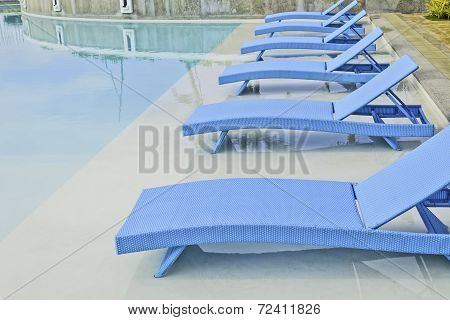 Turquoise Pool Benches