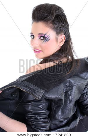 Young Beautiful Girl Undress Black Leather Jacket