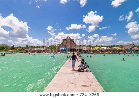 pier in Caribbean Bacalar lagoon, Quintana Roo, Mexico