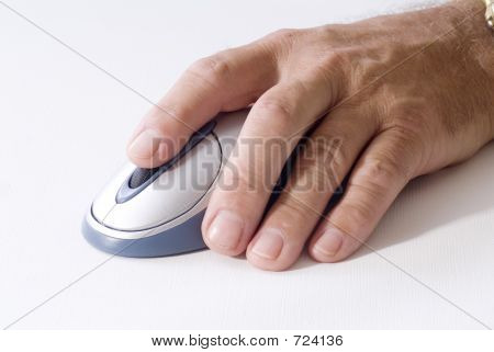 Man's Hand On Computer Mouse