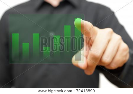 Businessman Touching Transparent Growing Company Chart