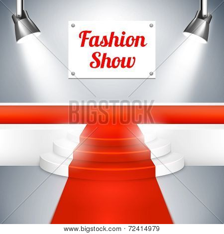 Fashion Show catwalk with a red carpet