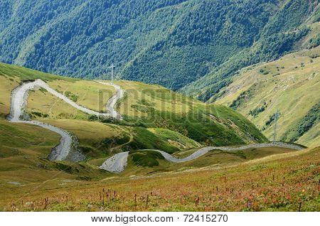 Road From Lower To Upper Svaneti,Georgia,popular Tourist Destination Among Trekkers,