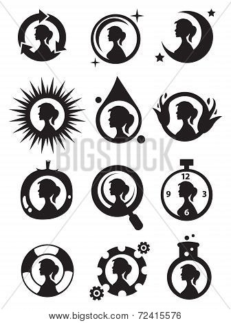 Girls In Circle Icon Set