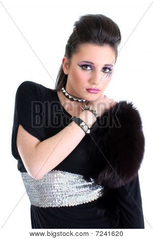 Young Beautiful Girl In Black Dress