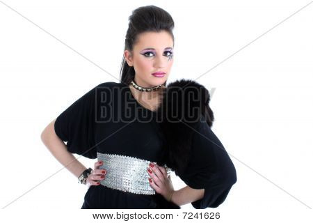 Young beautiful Girl in schwarzen Kleid