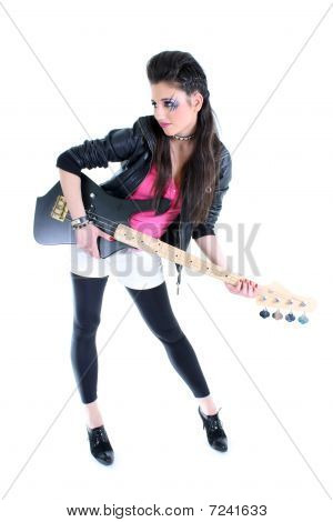Young Beautiful Girl In Black Leather Jacket With Guitar