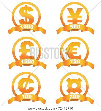 Currency signs golden set