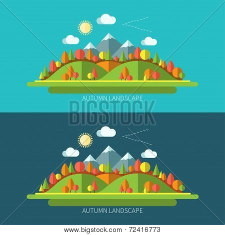 Flat design autumn nature landscape illustrations